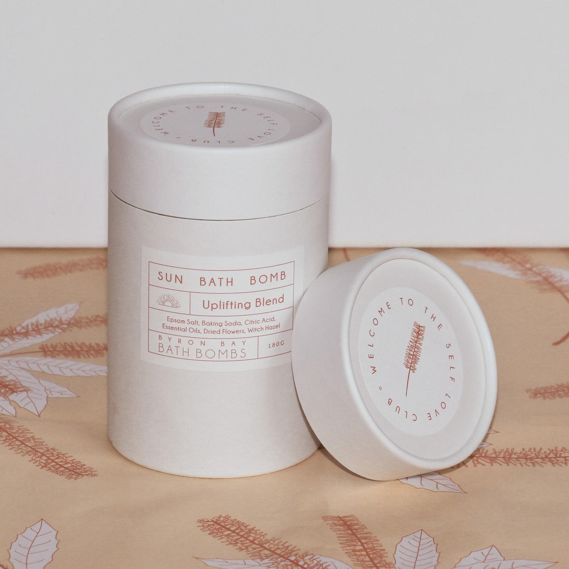 Byron Bay Bath Bomb box in top of custom tissue paper