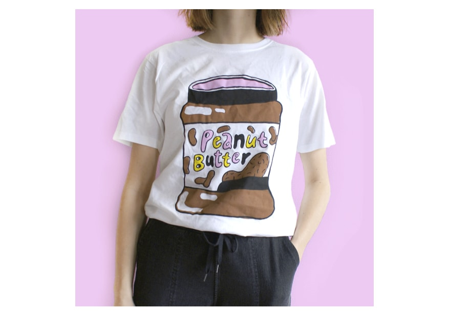 Girl in t-shirt with peanut butter bar design