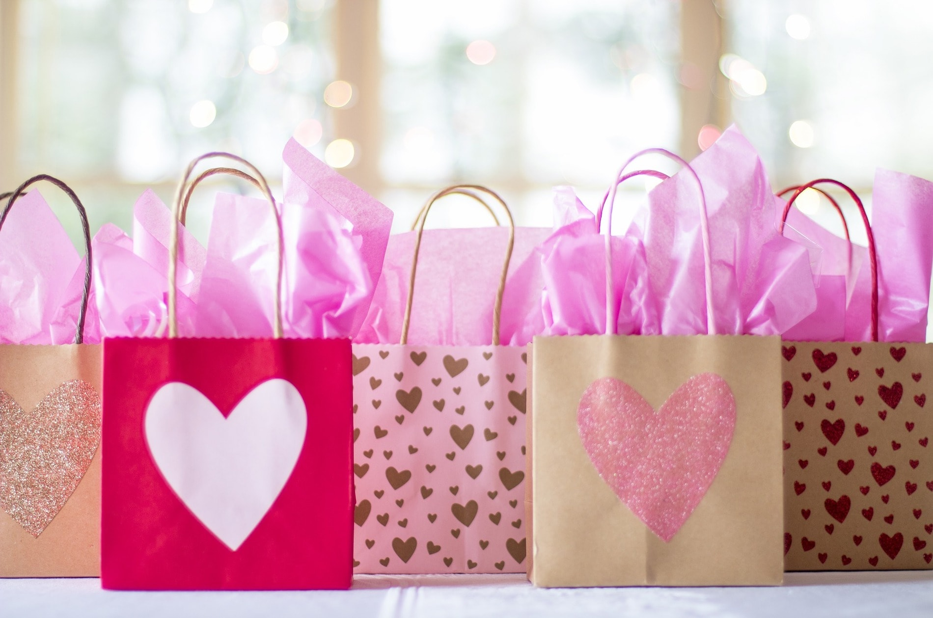 Gift bags filled with tissue paper